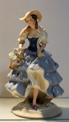 Royal Dux - Woman with flowers - figurine porcelain