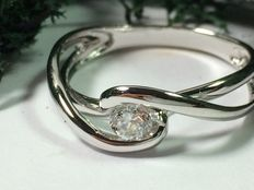 Women's diamond ring made of 19.2 kt white gold - Ring circumference: 16.8mm