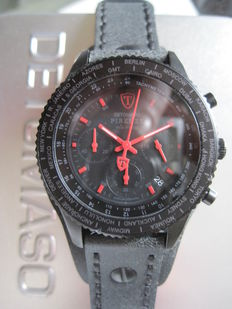 DETOMASO Firenze Retro DT1073-A Chronograph Stainless Steel Leather Strap 10 ATM New