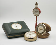 Four clocks: Europa Jewelry box, Rhythm World Time, Kaiser street lamp, Blessing with date indication - from '50-'60s