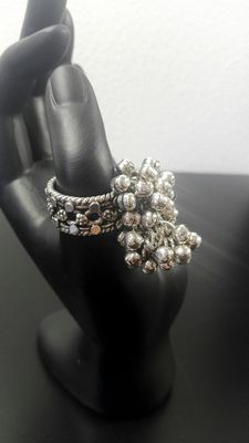 Silver ring with small bells, 800 k Size: 19/59 (EU), weight:  21.2 g