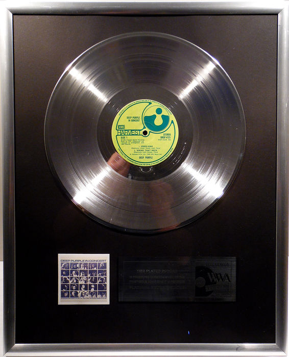 "Deep Purple - Deep Purple in Concert  - 12"" German Harvest Record platinum plated record by WWA Awards"