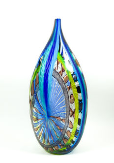 Fabiano D'Este (D'Este glassworks) - big battuto vase (unique piece - 46 cm)