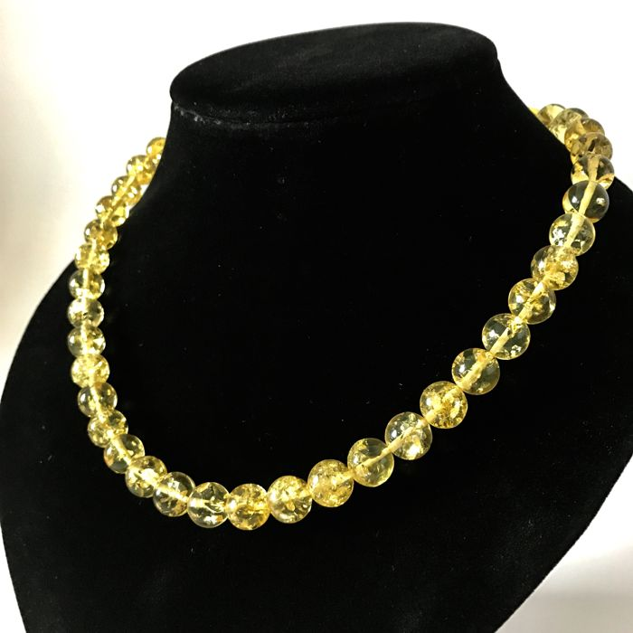 Amber necklace -  length 48cm - beads ø10mm