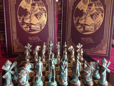 Vintage chess of Don-Quixote of the Mancha made of old-looking bronze plus and encyclopedia (two full volumes) of Miguel de Cervantes Saavedra