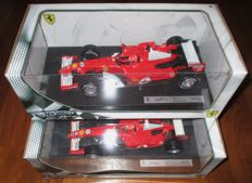 Hotwheels - Scale 1/18 - Lot with 2 models: Ferrari F2005 #1 M.Schumacher 2005 / Ferrari 248 F.1 2006 #5 Schumacher
