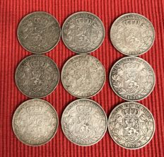 Belgium - 5 francs from 1868, 1869, 1870, 1871 and 1873 (lot of 9) - silver