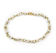 18 kt gold – Akoya pearl – Length: 20 cm (approx.).