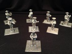 Silver miniatures, C.A Stout, Rotterdam, 1979, 8 orchestra members