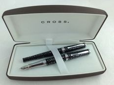 Cross Sauvage set Black / Dark chrome rollerball and fountain pen with 18 carat pen point.