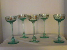5 old decorated small goblets