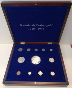 "The Netherlands - 1 cent through  2½ guilder coins, ""Collection of War money"" (12 pieces) in coffer, including silver medal."