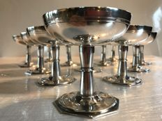 Lot of 12 sorbet bowls in silver plated metal - Art deco period