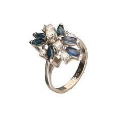 14 kt white gold ring set with 7 brilliant cut diamonds, 0.25 ct in total and 6 sapphires - ring size 16.25