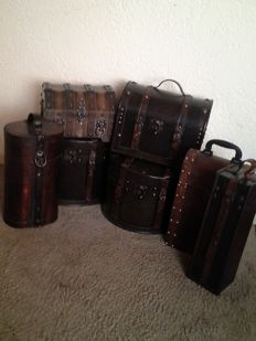 Lot of Seven Decorative wooden storage cases/wine cases in colonial style.