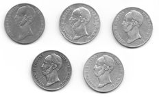 The Netherlands - 2½ guilders 1845a through 1848 Willem II (5 different pieces) - silver