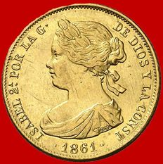 Spain – Isabel II (1833–1868) – 100 reales gold coin – 1861 – Madrid