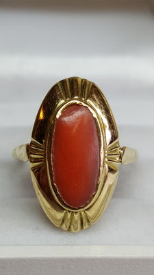14 kt Yellow gold ring set with Mediterranean precious coral, no reserve!