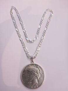 Silver necklace .925 with dollar pendant - 44 cm - 41.38 grams
