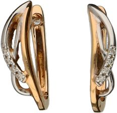White and rose gold 14 kt ear studs, each set with four brilliant cut diamonds, 0.04 ct in total – Length: 16.61 mm