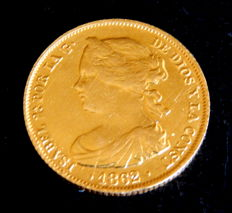 Spain – Isabel II – 100 reales gold coin – 1862 – Madrid.