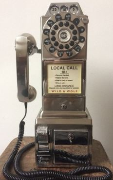 American retro public phone - brushed aluminium - reproduction of the 1950s phones  - USA
