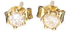 Yellow,18 kt gold, solitaire ear studs, each set with a brilliant cut diamond of 0.10 ct – diameter: 4.14 mm.