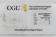 0.71 ct brilliant cut diamond  G  I3   ** Low Reserve **