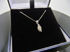 18k Gold Marquise Diamond Pendant and Chain - 0.43ct I SI1
