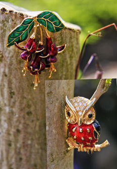 Two brooches: FUCHSIA's 'en tremblant' and *SPHINX* brooch BABY OWL