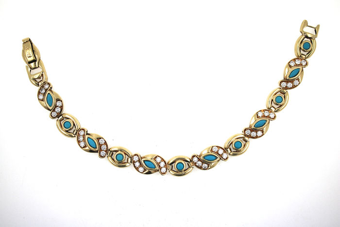 Turquoise bracelet made of 14 kt gold with zirconia - 18 cm, 21.94 g
