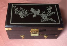Wooden pen box lacquered and hand-decorated with flowers and birds, 1940s/50s