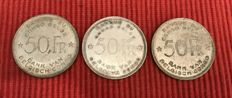 Belgian Congo - 50 francs 1944 (lot of 3) - Silver