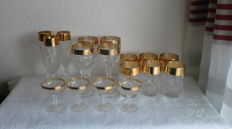 High-quality crystal glasses with a wide gold edging