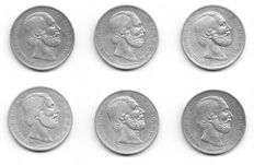 The Netherlands – 2½ guilder coins 1870 up to and including 1874 William III (6 different) – silver
