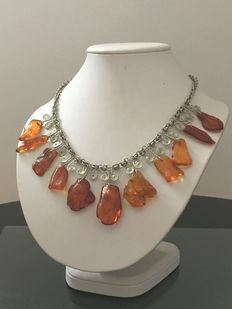 Vintage Baltic amber and silver neckleace , 1950s , natural cognac amber