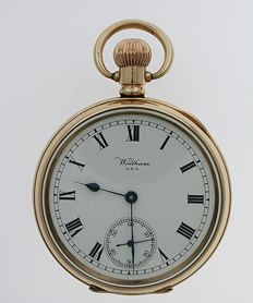 Gold Filled WALTHAM USA Open Face Pocket Watch 1920 With ALD Case