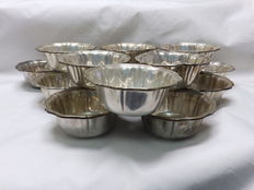 Set of fifteen (15) silver finger bowls. Spain. 20th century.