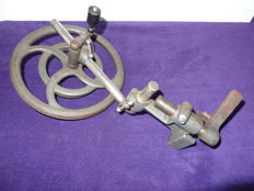 Old manual drive wheel made by Boley for old watch maker's lathe.
