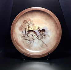 "Hutschenreuther ""Deer to the River"" porcelain plate - Signed ESTHER"
