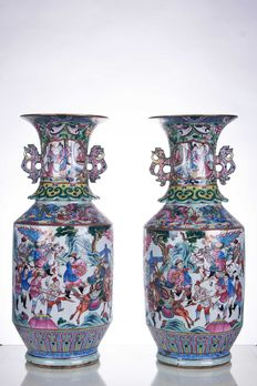 Pair of Famille Rose Vases – China – 19th century, Qing dynasty
