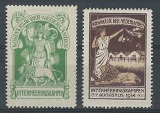The Netherlands 1916 – Internment stamps – NVPH IN1 + IN2