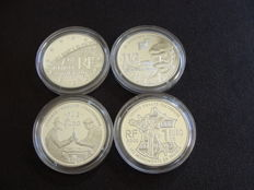 France - 1½ Euro 2002, 2003, 2005 and 2006 (4 different) - silver