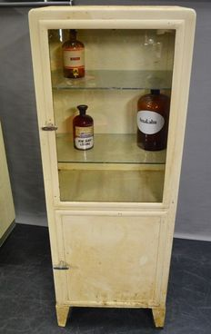 Stoss - large original industrial apothecary cabinet, made of metal