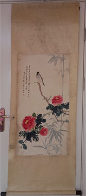 A hand-painted scroll - China - 2nd half 20th century