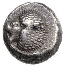 Ancient Greece – Ionia – Milet (~525-475 BC) AR Obol, lion protome, star ornament