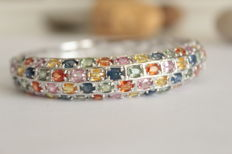 Silver bracelet with natural colourful sapphires - Diameter: 56.65mm