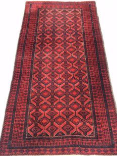 Wonderful vintage Oriental carpet Baloutsch - made in the middle of the 20th century - 96 x 192 cm - from 1€