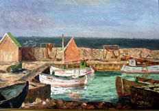 "Indistinctly signed around 1950, ""Harbour view with fishing boats""."