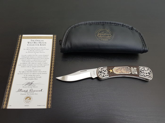 Franklin Mint - Legends of The West - Official Wild Bill Hickok Collector Knife - Silver Plated.